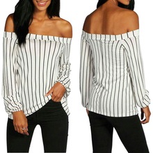 t shirt women Sexy Top Casual long sleeves Striped Slash neck cold shoulder tops vogue femme t-shirt pink tiered flounced details crossed front cold shoulder long sleeves t shirt