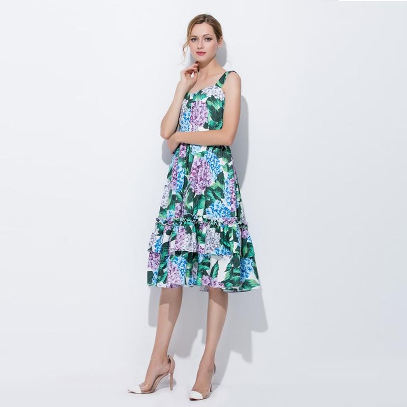 Custom Dress S-7XL 2017 New Summer Spaghtti Strap Sleeveless Hydrangea Flowers Print Elegant Knee-Length Plus Size Dress Women jones new york new gray sleeveless women s size 1x plus sheath dress $109