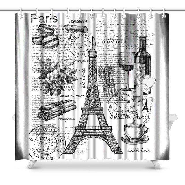 Eiffel Tower Paris France Bathroom Decor Shower Curtain Set With Hooks