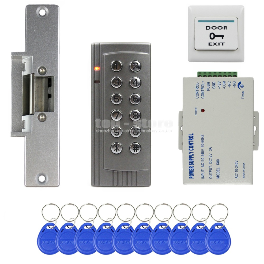 DIYSECUR RFID 125KHz Reader Keypad Access Control System Security Kit + Electric Strike Door Lock + Power Supply K4 wholesale new white rfid card reader code keypad door access control system electric strike door lock in stock free shipping