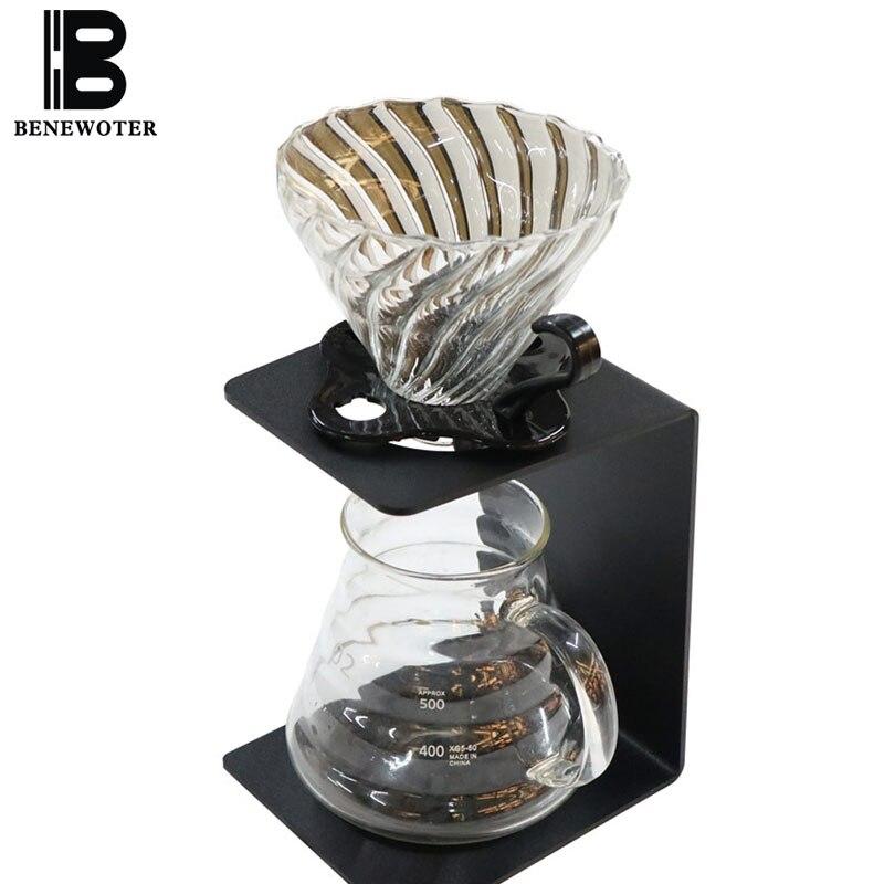 450 | 600 ml cafetière en verre résistant à la chaleur accueil V60 filtres d'égouttement manuels tasse cafetière bref noir métal café Stand café outil