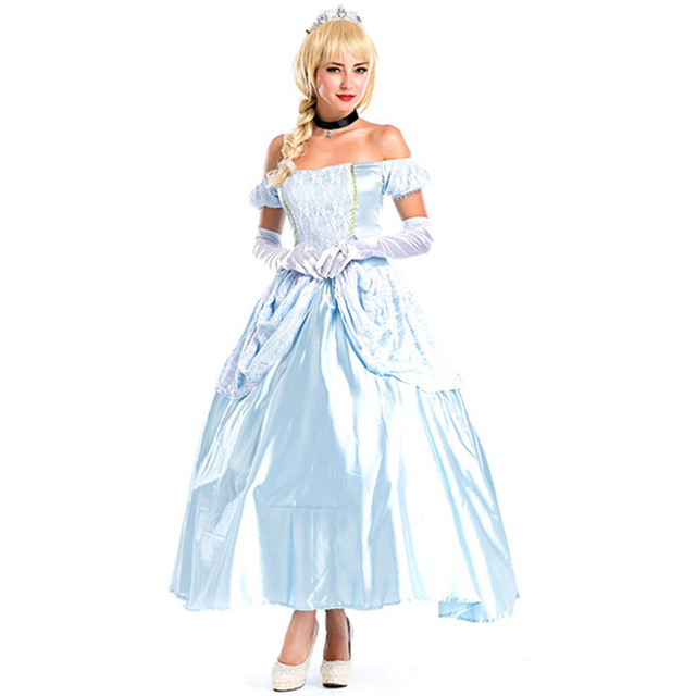 Fashion Cinderella Princess Adult Cosplay Costume Deluxe Party Women ...