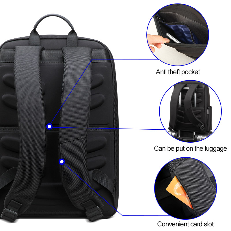 BOPAI 2019 Black Back Pack Business Men's Laptop Backpack Male Rucksack Separate Main Bags School Backpack with Breathable Back