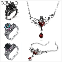 ROMAD Hollow Rattan Flower Necklace Women Gem Crystal Stone Rose Heart Pendant Gothic Punk Girl Jewelry R5