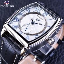 ساعات يد رجالية فاخرة من Forsining موديل 2017 بتصميم كلاسيكي ورائع باللون الأزرق أوتوماتيكية ذاتية الملء ساعات يد ميكانيكية