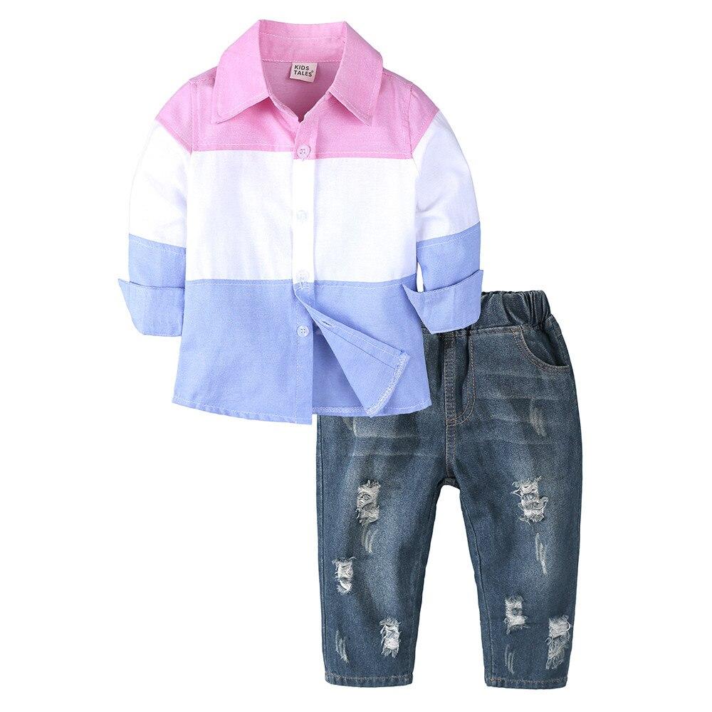 Kid Kleding Peuter Baby Baby Jongens Gentleman Gestreept T-shirt Tops Denim Broek Set Outfits Minnie Zomer Dragen 2019 Nieuwe Exquisite Traditional Embroidery Art