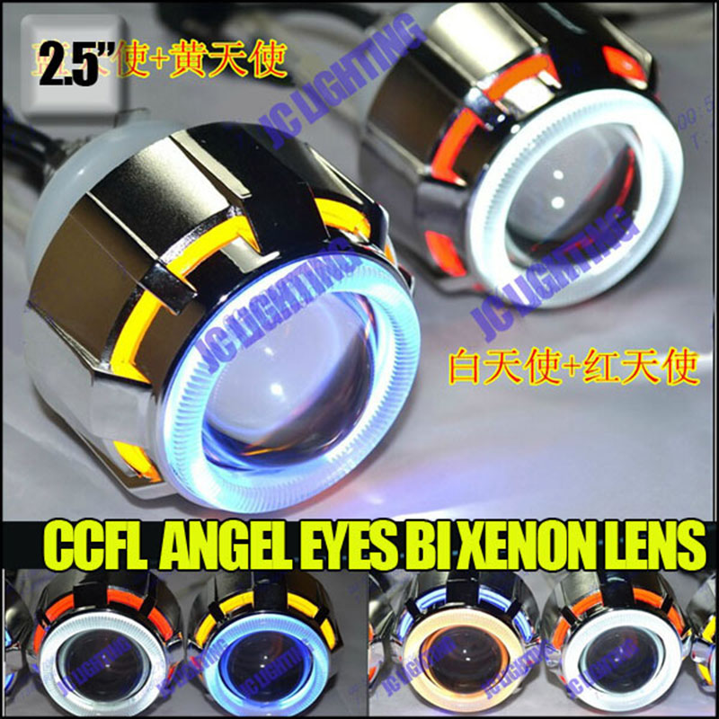 2.5 inch 35W hid bi xenon projector lens kit with CCFL angel eyes and demon eyes universal lamps for auto carlight moyorcycle taochis 3 0 inch bi xenon hella projector lens hid d1s d3s d4s d2s shroud devil angel eyes head lamp upgrade demon eye