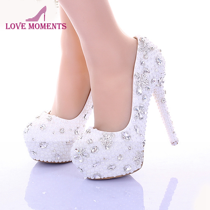 14cm High Heel White Pearl Wedding Shoes 2018 Women Pumps Spring High Heel Bridal Dress Shoes Glitter Rhinestone Party Platforms pure white pearl wedding dress shoes gorgeous red rhinestone heart shape women pumps 3 inches high heel bride shoes event pumps