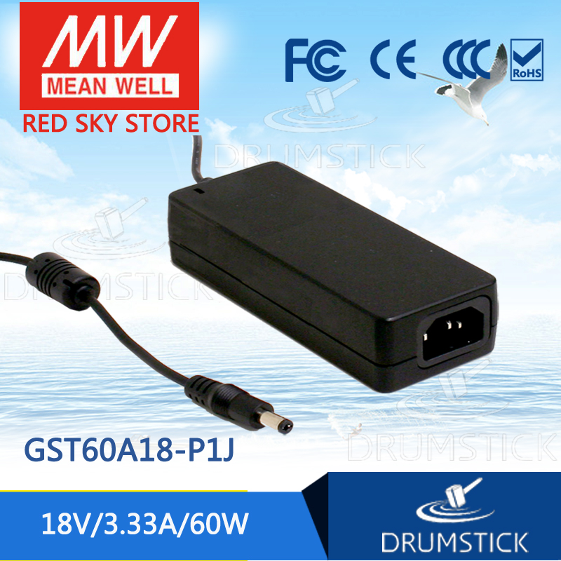 Selling Hot MEAN WELL GST60A18-P1J 18V 3.33A meanwell GST60A 18V 60W AC-DC High Reliability Industrial Adaptor 12 12 mean well gst60a12 p1j 12v 5a meanwell gst60a 12v 60w ac dc high reliability industrial adaptor