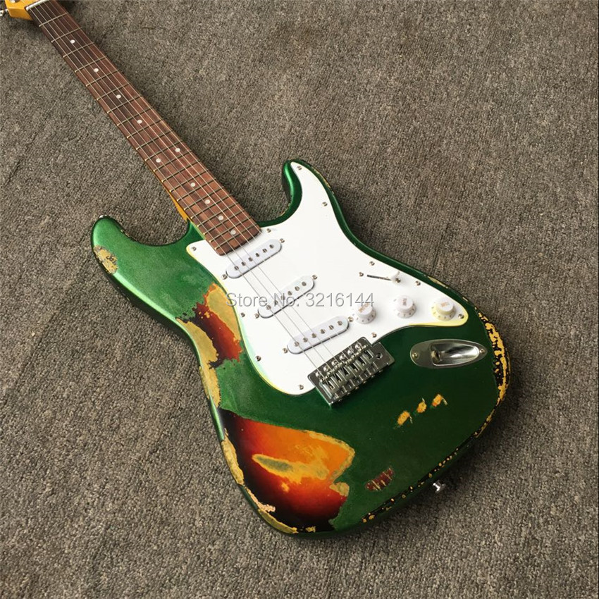 US $185 3 15% OFF|In Stock Antique relic guitars handmade, real photos,  wholesale and retail   Do old guitars, metallic green-in Guitar from Sports  &