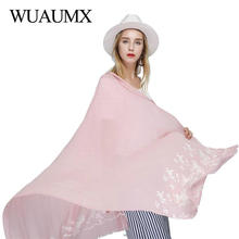 Wuaumx Luxury Brand Scarf For Women Cotton Embroidered Floral Hijab Thin Scarves Female Wraps Shawl Pashmina Foulard Femme