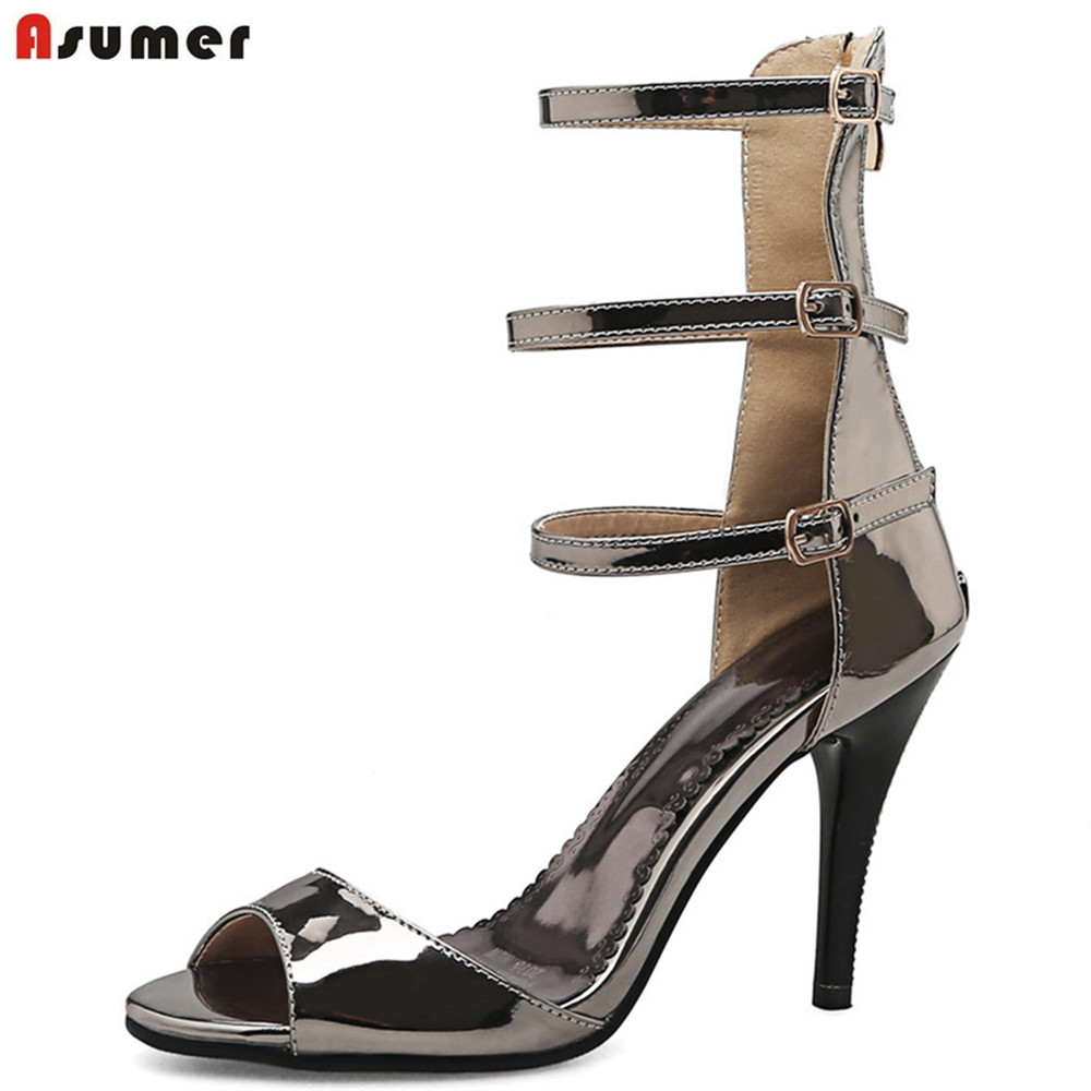 ASUMER gold gun colors fashion summer ladies prom shoes peep toe zip super high sexy women high heels sandals big size 32-44 asumer gold silvery fashion square toe buckle ladies single shoes spring autumn women high heels shoes big size 32 44