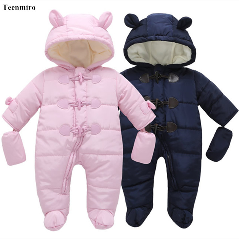 Winter Warm Baby Fleece Overalls Newborn Snowsuit Baby Romper Snow Wear Jumpsuit Boys Girls Outwear Cotton Coat Christmas Gift newborn overalls 2018 spring winter warm