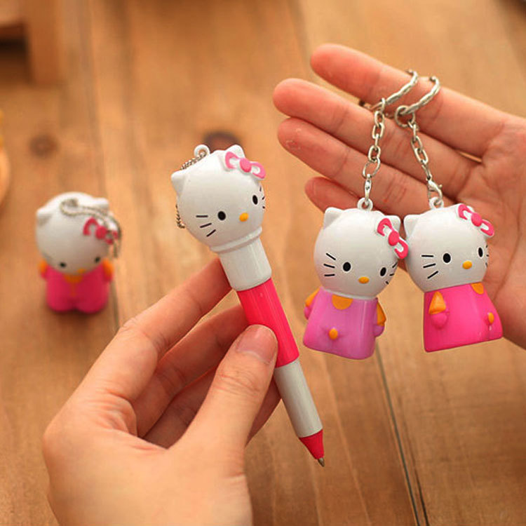 QSHOIC40 PCS/set Korean creative stationery cute hellokitty cat ball-point cute pen cartoon telescopic pen pupil gifts wholesale zx 0318 creative heart shaped pencils eraser footprint style ball point pen set