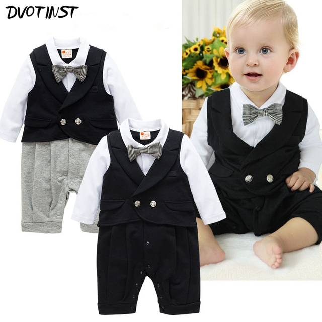 74199f55e Baby Boys Clothes Full Sleeves Grey Black Gentleman Bow Tie Rompers ...