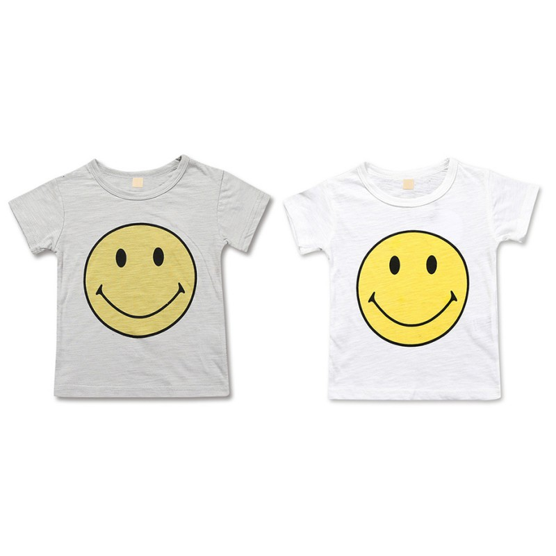 Girls T-Shirts Tops Print Cotton Children's Cartoon Summer Smile Tees