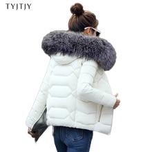 ¡Caliente! 2018 nueva moda invierno chaqueta mujeres falso mapache Cuello de piel abrigo de invierno mujeres Parkas caliente abajo chaqueta femenina