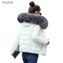 Hot!2018 New Fashion Winter Jacket Women Fake Raccoon Fur Collar Winter Coat Women Parkas Warm Down Jacket Female outerwear