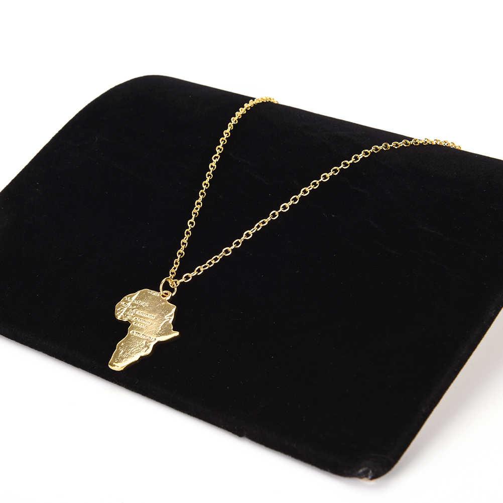 JETTINGBUY 2 סגנון אפריקאי מפת אפריקה תליון צבע זהב שרשרת Hiphop & שרשרת מתנות לגברים/נשים תכשיטי האתיופית טרנדי