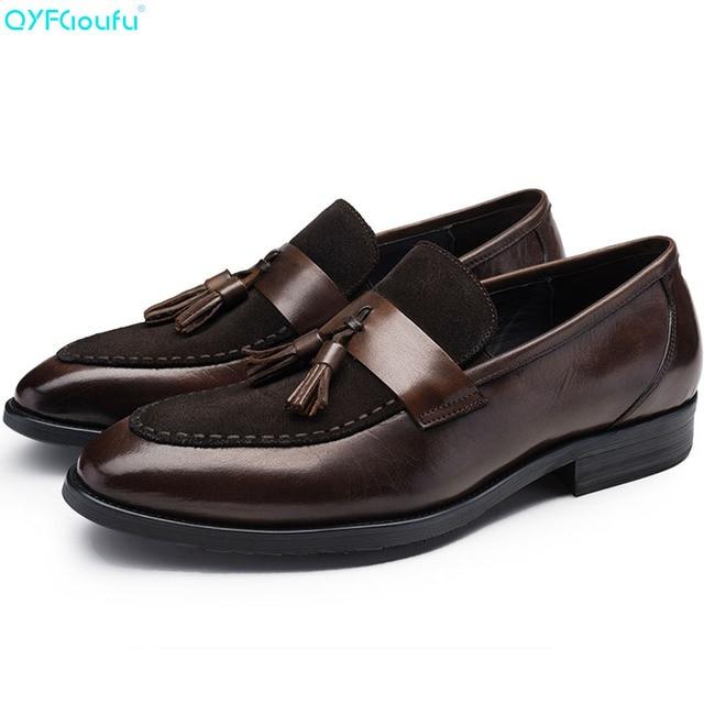 QYFCIOUFU Luxury Brand Genuine Leather Men Tassel Business Shoes Suede Splice Mens Dress Shoes Italian Designer Wedding Shoes