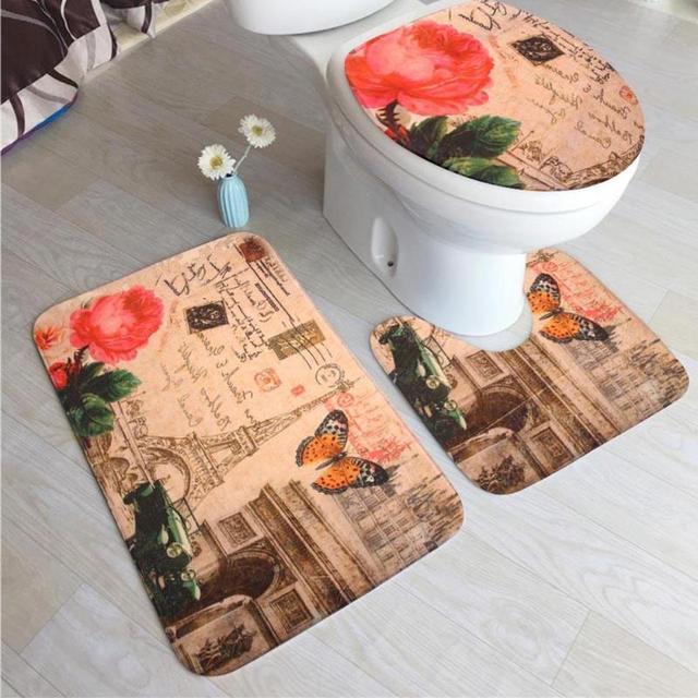 3Pcs/set Flannel Anti Slip Bathroom Mat Set Toilet Cover Floor Square U Shape Bath Mats for Bathroom Home Decoration
