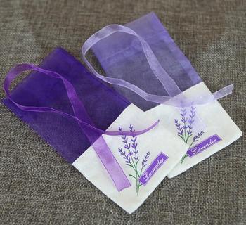 100 szt Worek z lawendowym fioletowym kwiatem przędza bawełniana podwójnie z jednostronnym nadrukiem saszetka tanie i dobre opinie Lavender brown flower bag Przyprawy Farbric