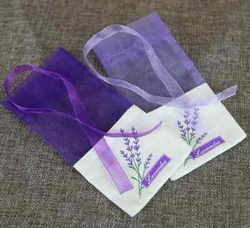 100pcs Lavender purple flower bag Cotton encryption yarn double-sided printing sachet bag - DISCOUNT ITEM  9% OFF All Category