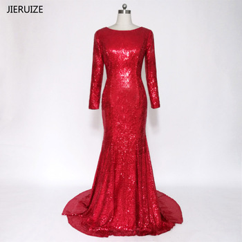 JIERUIZE robe de soiree Long Sleeves Backless Red Prom Dresses Low Back Mermaid Long Evening Party Dresses Ballkleider