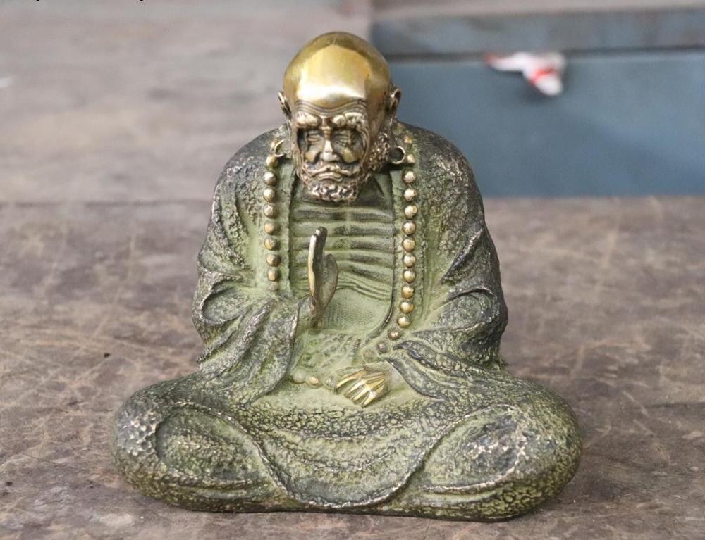 Chinês Cobre Bronze Escultura Assento Arhat Damo Bodhidharma Dharma Estátua de Buda|Estátuas e esculturas| |  - title=