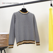 Kint Sweater Women Patchwork Sweaters Woman Winter 2019 Autumn Stripped Korean Style Ladies Jumpers