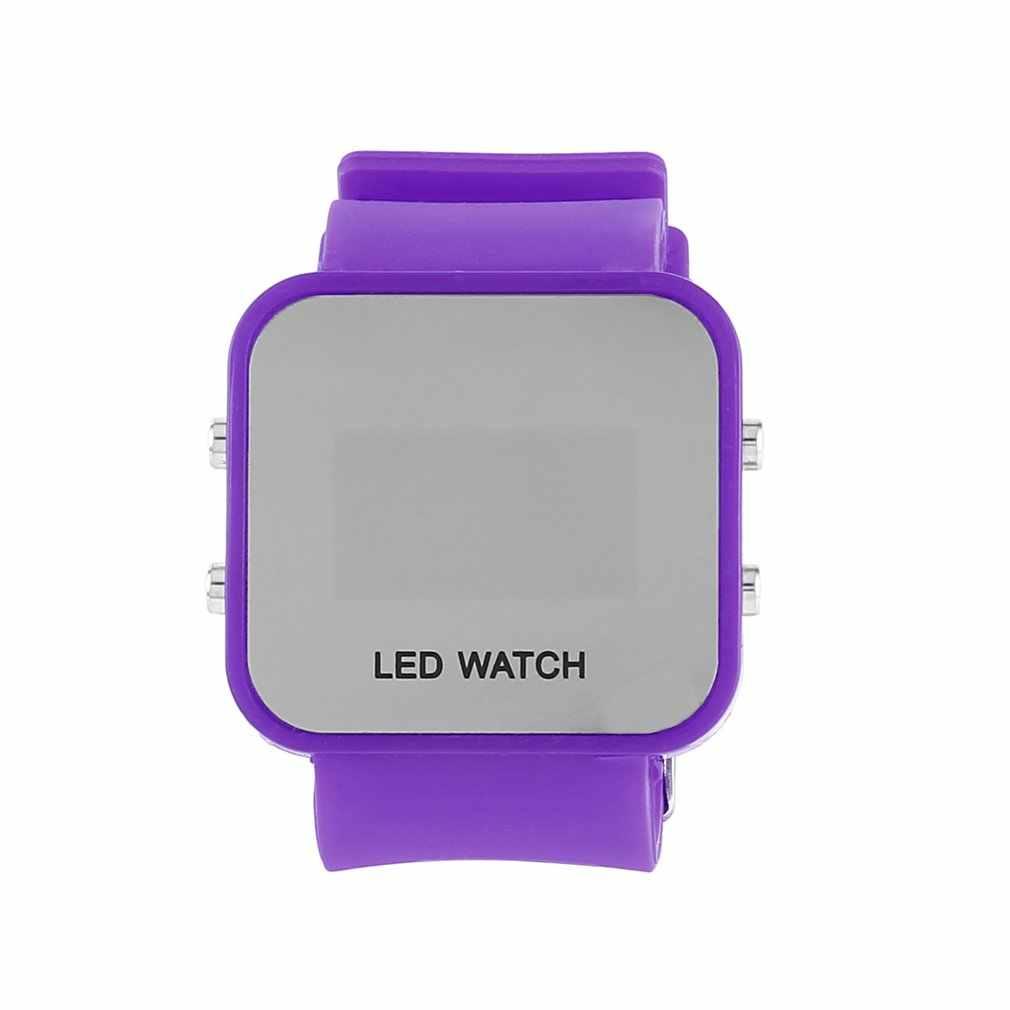 LED شاشة ديجيتال الأطفال ووتش لينة سيليكون حزام مربع شكل الأزياء عارضة الطلاب الاطفال الصحية النوم مربط الساعة