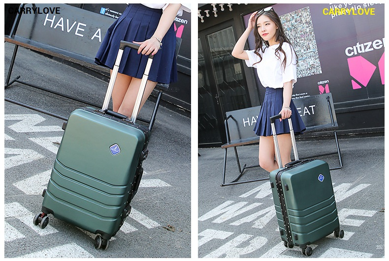 CARRYLOVE business luggage series 20/24 inch size Aluminum frame PC Rolling Luggage Spinner brand Travel Suitcase 20 25 29 aluminum magnesium alloy metal luggage fashion spinner rolling suitcase business aluminum frame luggage