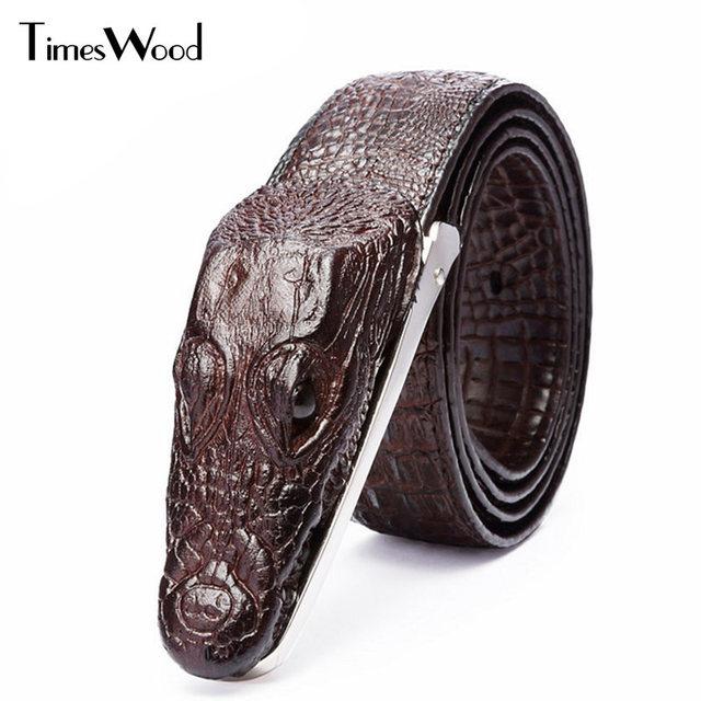 TIMESWOOD  Marque Cowhid Véritable En Cuir Boucle Ardillon Ceinture Serpent  Style Mode Hommes Femmes 0d4800f164a