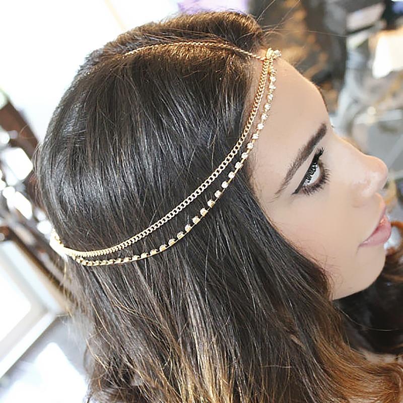 2015New Fashion Rhinestone Headpiece Gold Head Chain Head