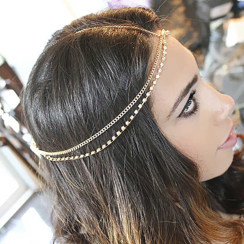 2015New Fashion Rhinestone Headpiece Gold Head Chain Head Piece Jewelry  Boho Bohemian Gypsy Style Wedding Tiara c331f45d1d7