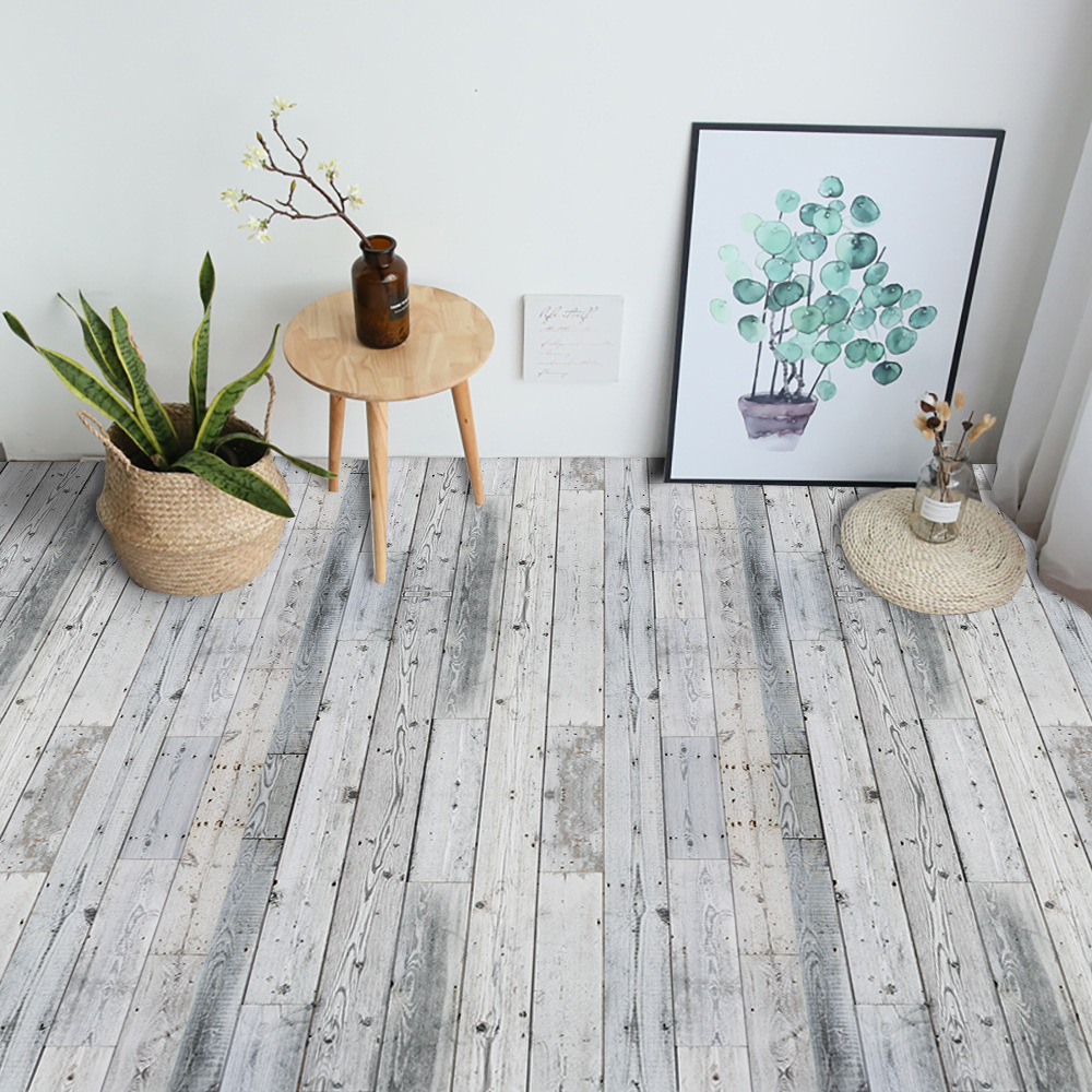 Gray Wood Grain Self Adhesive Wallpaper Home Decor Floor Sticker PVC Waterproof Contact Paper For Bathroom Kitchen