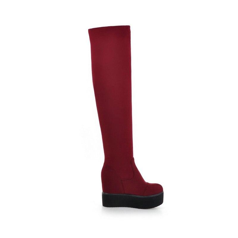На платформе увеличивающие рост слипоны из флока Сапоги выше колена зимние растягивающиеся сапоги модные женские высокие сапоги черный, кр...