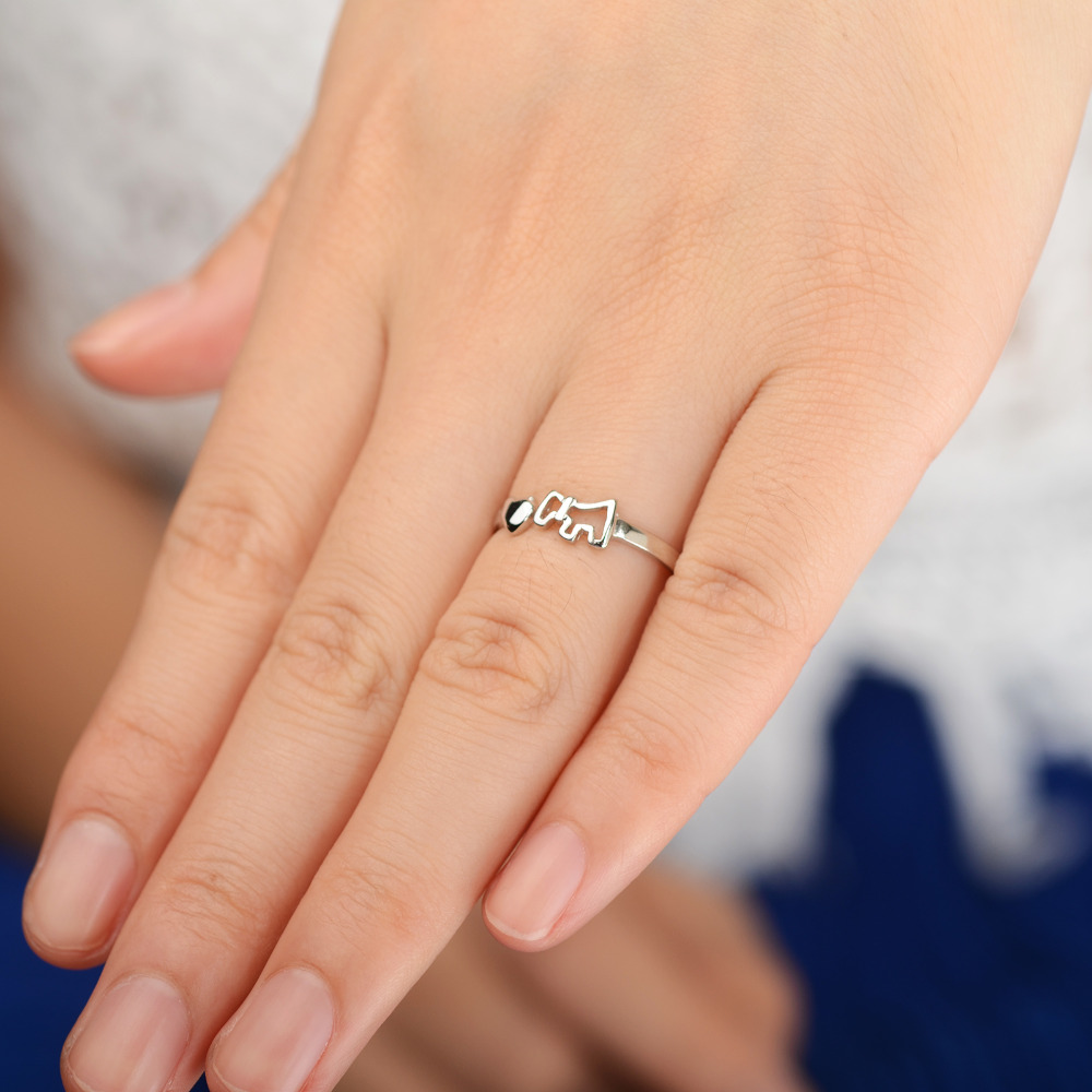 1 Pc Cute Silver Color Hollow Dog Heart Open Band Ring For Women ...