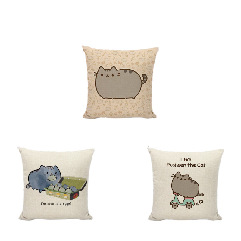 Cute Lovely Pusheen Cat Cushion Cover Sleeping Cat Square Throw Pillows 43*43CM Home Office Sofa Decoration Car Seat Pillow Case