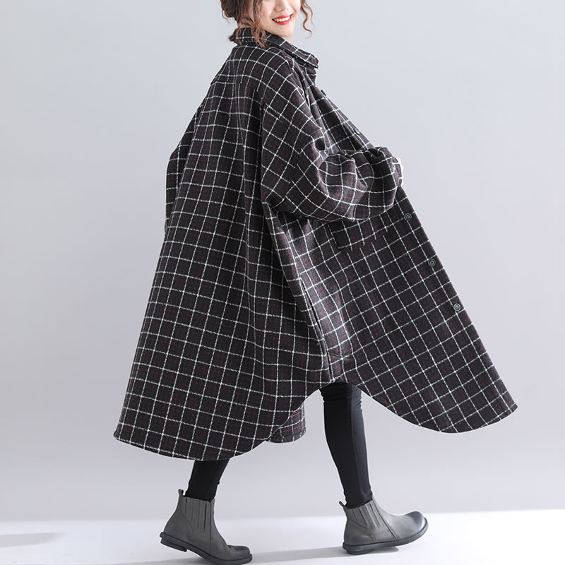 Lyh1510 Unique Manteau Femelle Mode down Femmes Corée Collar De Lâche Mélange Plaid Casual Black xitao Turn Poitrine Long 2018 Automne qUAw7Y
