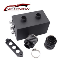 SPEEDWOW 3.5L Aluminum Oil Catch Can Reservoir Tank with Air Filter for Honda Civic Integra EK EG DC Black