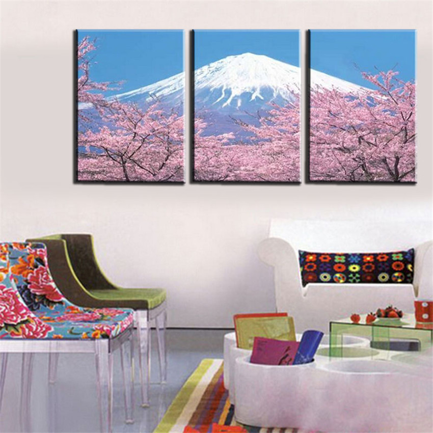 Modern 3 Panel Japanese Mount Canvas Wall Art For Living Romm Home  Decoration Fuji Cherry Blossom Canvas Print Picture Frameless In Painting U0026  Calligraphy ...