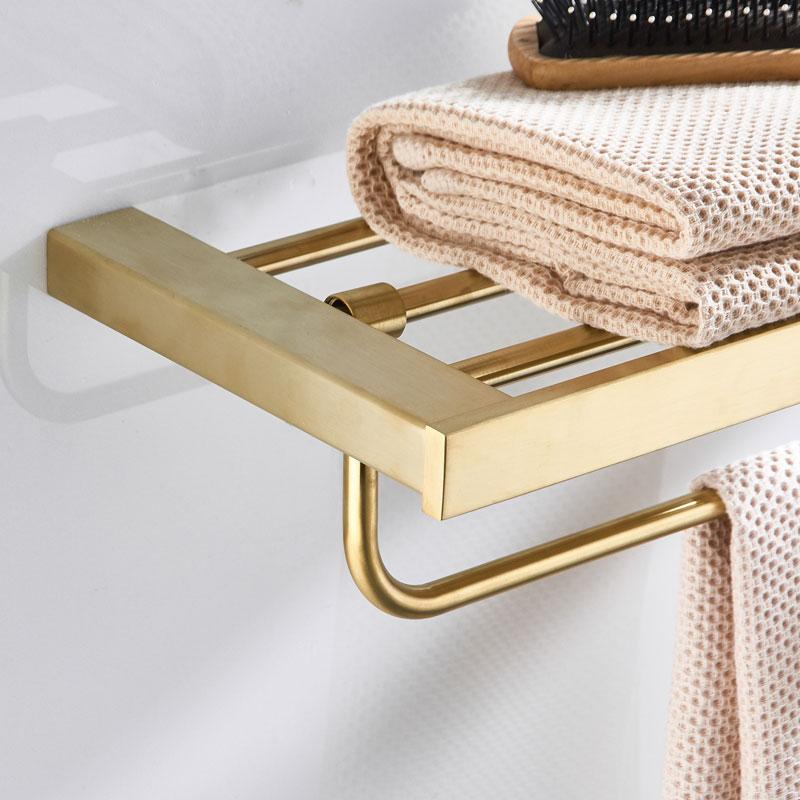 Fixed Bath Towel Holder 304 Stainless Steel Brushed Gold Towel Rack Holder for Hotel or Home Bathroom Storage Rack Towel Shelf