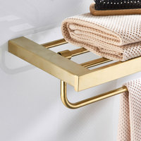 Fixed Bath Towel Holder 304 Stainless Steel Brushed Gold Towel Rack Holder for Hotel or Home Bathroom Storage Rack Towel Shelf