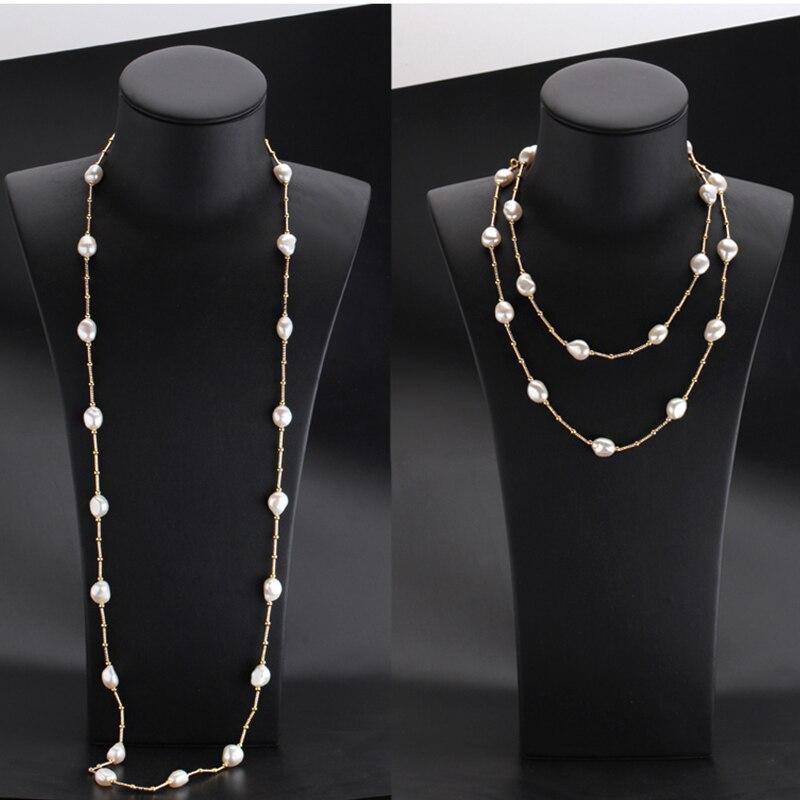 RUNZHUQIYUAN 2017 100% perle d'eau douce naturelle long collier 10-11mm perle argent bijoux 90 cm longueur meilleurs cadeaux pour les femmes - 4