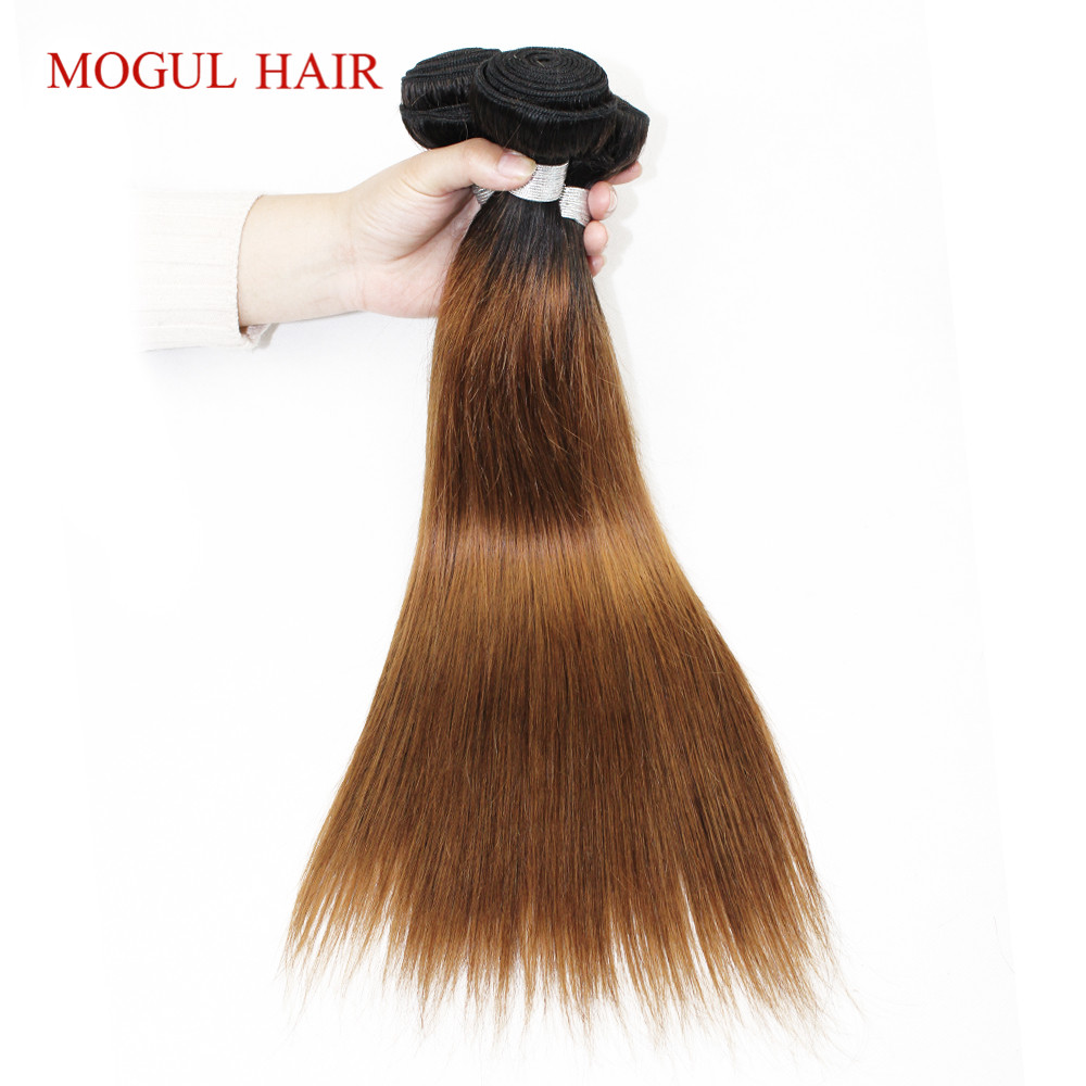 MOGUL HAIR T 1B 30 Ombre Brown Auburn Bundles with Closure Peruvian Straight Remy Human Hair 2/3 Bundles with Closure 10-24 inch