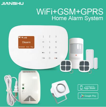 phone APP  Remote Contro WIFI Alarm System Wireless GSM Security Alarm System with GAS Leakage Detector sensor+wired mini srien wireless gas leakage detector gas sensor with 433mhz works with g9 wifi gsm alarm system