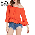 HDY Haoduoyi 2017 Summer Women Fashion 2 Color  Long Sleeve Sexy Off Shoulder Blouse Flare Sleeve Blouse