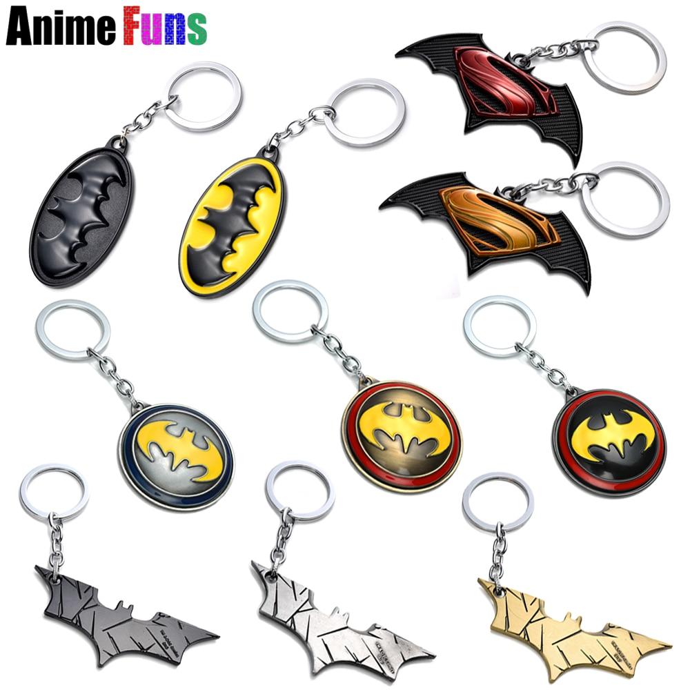 17 type Movie Superman Batman Keychain Mask Logo Keyring Rotable Key Holder Bat Pendant Charm Cosplay Gift Souvenir drop-ship