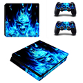 Blue Fire Design Vinly For PS4 Slim Sticker For Sony Playstation 4 Slim Console+2 controller Skin Sticker For PS4 S Skin